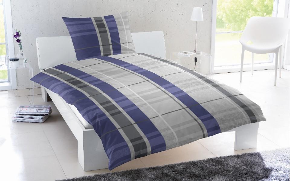 feinbiber bettw sche grau wei blau gestreift 037. Black Bedroom Furniture Sets. Home Design Ideas
