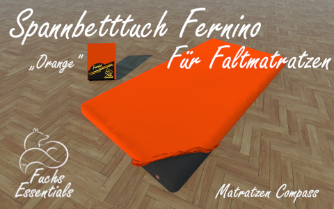 Spannbetttuch 100x190x8 Fernino orange - insbesondere geeignet fuer Klappmatratzen