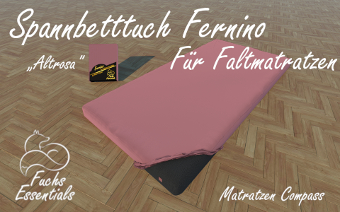 Bettlaken 110x190x14 Fernino altrosa - insbesondere fuer Koffermatratzen
