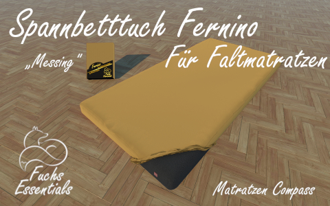 Spannbetttuch 100x180x8 Fernino messing - sehr gut geeignet fuer faltbare Matratzen