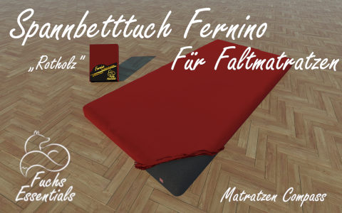 Bettlaken 100x200x6 Fernino rotholz - speziell fuer klappbare Matratzen