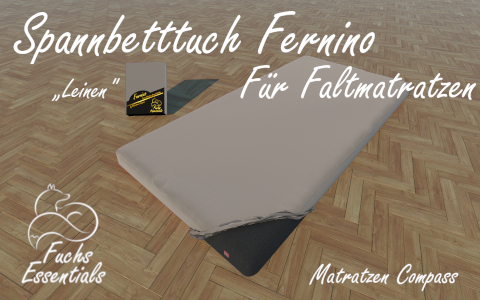 Spannbetttuch 110x200x8 Fernino leinen - sehr gut geeignet fuer Faltmatratzen