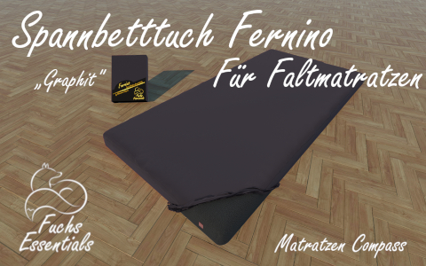 Spannbetttuch 100x190x8 Fernino graphit - speziell fuer klappbare Matratzen