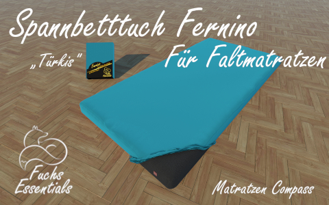 Bettlaken 100x180x14 Fernino tuerkis - insbesondere fuer Koffermatratzen