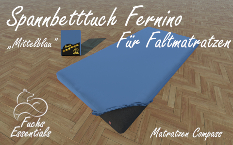 Spannlaken 100x180x11 Fernino mittelblau - besonders geeignet fuer Koffermatratzen