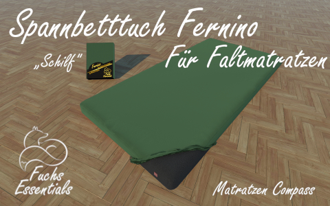 Spannbetttuch 100x190x14 Fernino schilf - speziell entwickelt fuer Klappmatratzen
