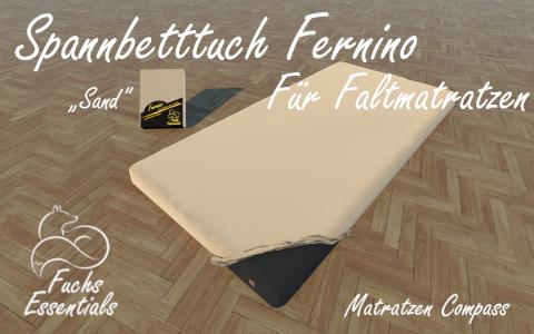 Bettlaken 100x190x8 Fernino sand - sehr gut geeignet fuer Faltmatratzen