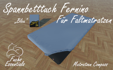 Spannbetttuch 100x200x8 Fernino bleu - besonders geeignet fuer faltbare Matratzen