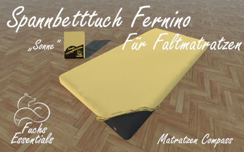 Spannbetttuch 110x180x14 Fernino sonne - speziell entwickelt fuer Faltmatratzen