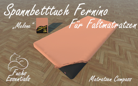 Bettlaken 75x190x14 Fernino melone - ideal fuer klappbare Matratzen
