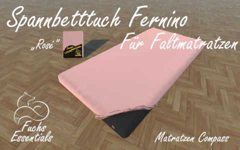 Spannbetttuch 110x190x14 Fernino rose - besonders geeignet fuer faltbare Matratzen
