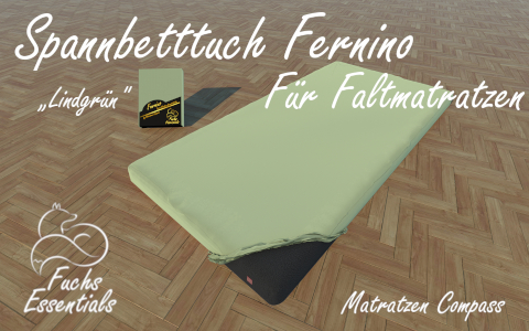 Spannbetttuch 110x200x6 Fernino lindgruen - speziell fuer Faltmatratzen