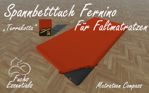 Bettlaken 100x180x11 Fernino terrakotta - insbesondere fuer Faltmatratzen