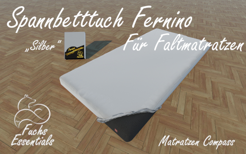 Spannlaken 100x180x14 Fernino silber - insbesondere fuer Faltmatratzen