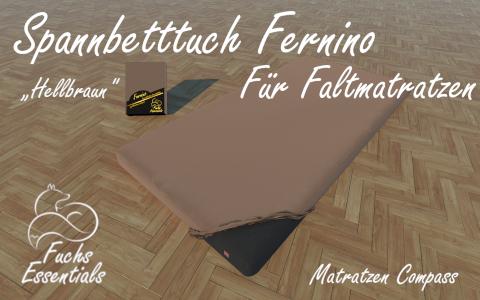 Spannbetttuch 110x200x14 Fernino hellbraun - speziell entwickelt fuer faltbare Matratzen