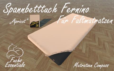 Spannbetttuch 100x190x14 Fernino apricot - besonders geeignet fuer faltbare Matratzen