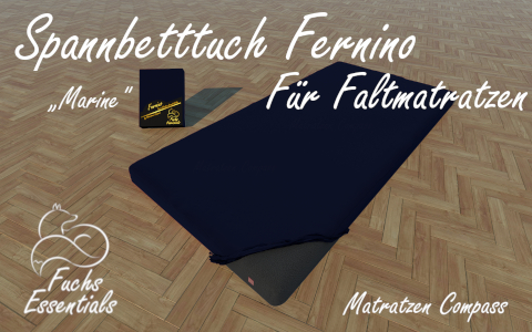 Spannlaken 100x190x11 Fernino marine - speziell entwickelt fuer faltbare Matratzen