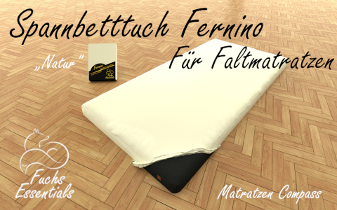 Spannbetttuch 110x180x8 Fernino natur - besonders geeignet fuer Faltmatratzen