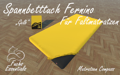 Spannlaken 75x190x14 Fernino gelb - sehr gut geeignet fuer Faltmatratzen