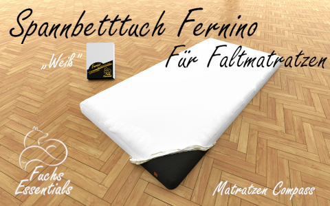 Spannlaken 110x180x8 Fernino weiss - besonders geeignet fuer faltbare Matratzen
