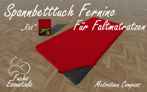 Spannbetttuch 100x200x6 Fernino rot - extra fuer Koffermatratzen