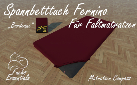 Spannbetttuch 100x190x14 Fernino bordeaux - speziell entwickelt fuer Faltmatratzen