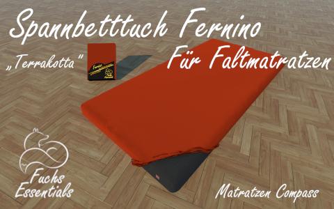 Spannbetttuch 100x190x14 Fernino terrakotta - besonders geeignet fuer Koffermatratzen