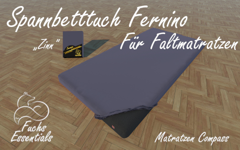 Spannbetttuch 110x200x6 Fernino zinn - insbesondere geeignet fuer Klappmatratzen