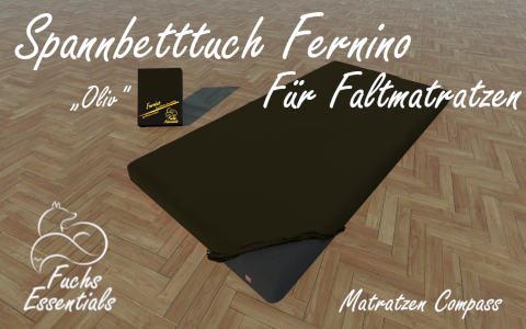 Spannbetttuch 100x190x14 Fernino oliv - besonders geeignet fuer Gaestematratzen