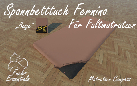 Spannlaken 110x190x11 Fernino beige - insbesondere fuer Koffermatratzen
