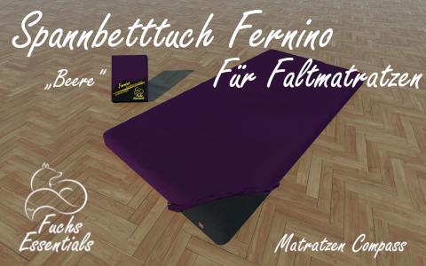 Spannbetttuch 100x200x14 Fernino beere - speziell fuer faltbare Matratzen