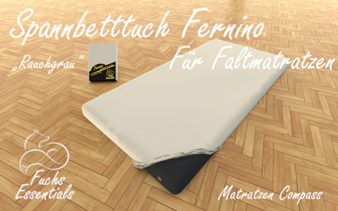 Spannbetttuch 100x180x8 Fernino rauchgrau - extra fuer klappbare Matratzen