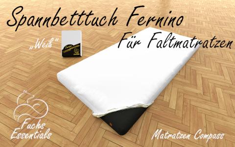 Spannbetttuch 120x200x8 Fernino weiss - besonders geeignet fuer faltbare Matratzen