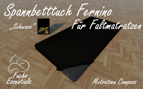 Spannlaken 100x200x14 Fernino schwarz - speziell fuer faltbare Matratzen