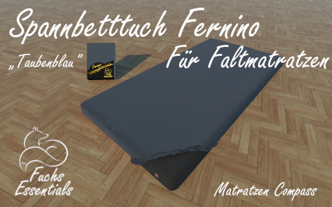 Spannlaken 110x190x8 Fernino taubenblau - besonders geeignet fuer Faltmatratzen