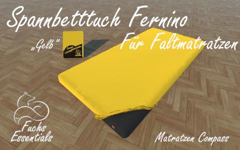 Bettlaken 100x190x8 Fernino gelb - sehr gut geeignet fuer Faltmatratzen
