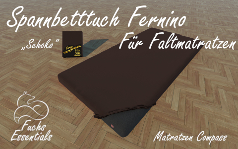 Spannbetttuch 110x200x8 Fernino schoko - besonders geeignet fuer faltbare Matratzen
