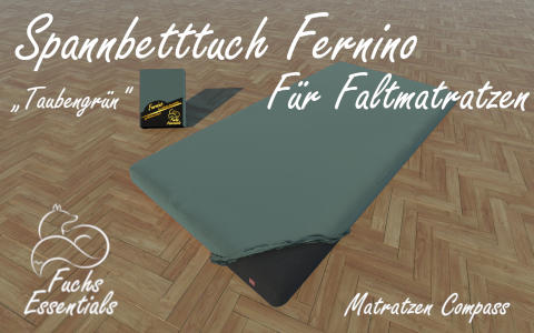 Spannlaken 110x200x8 Fernino taubengruen - speziell fuer Faltmatratzen