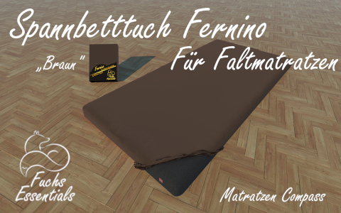 Spannbetttuch 110x190x8 Fernino braun - besonders geeignet fuer Faltmatratzen
