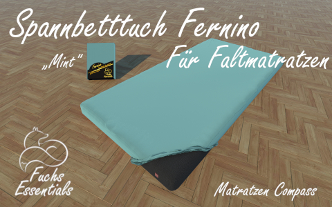 Bettlaken 100x180x8 Fernino mint - speziell fuer klappbare Matratzen