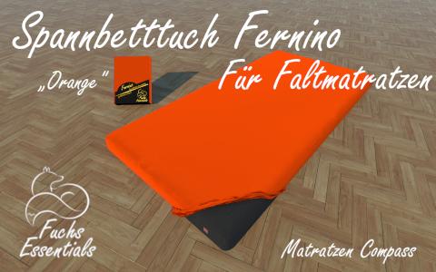 Spannlaken 100x190x14 Fernino orange - insbesondere fuer Koffermatratzen