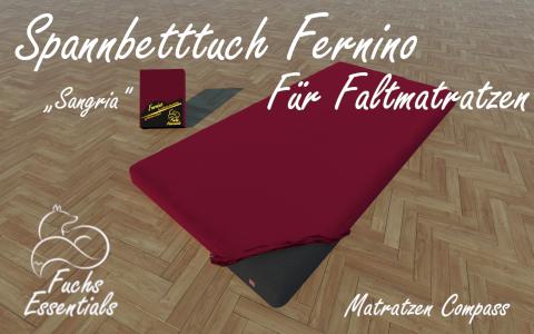 Spannbetttuch 100x190x8 Fernino sangria - besonders geeignet fuer Faltmatratzen