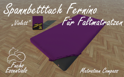 Spannlaken 100x180x14 Fernino violett - insbesondere fuer Klappmatratzen