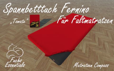 Bettlaken 110x180x6 Fernino tomate - insbesondere geeignet fuer Koffermatratzen