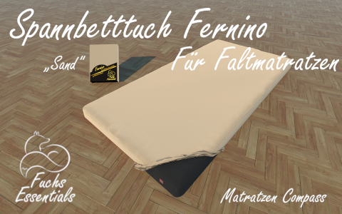 Spannbetttuch 90x200x8 Fernino sand - sehr gut geeignet fuer Faltmatratzen
