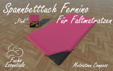 Bettlaken 100x180x8 Fernino pink - ideal fuer klappbare Matratzen