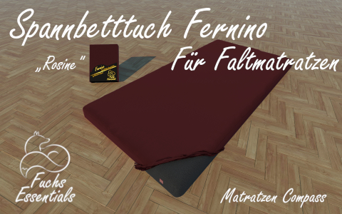 Spannbetttuch 110x200x8 Fernino rosine - insbesondere geeignet fuer Koffermatratzen