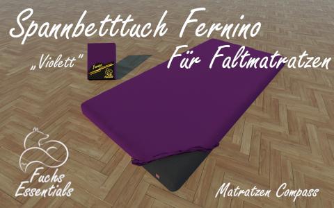 Spannbetttuch 100x200x14 Fernino violett - insbesondere fuer Klappmatratzen