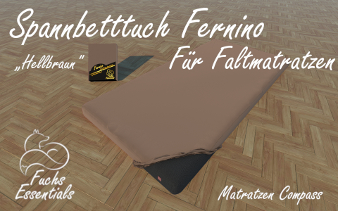 Spannlaken 100x190x14 Fernino hellbraun - speziell entwickelt fuer faltbare Matratzen