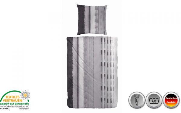 Renforce-Bettwäsche schwarz/weiß/grau gestreift (088)
